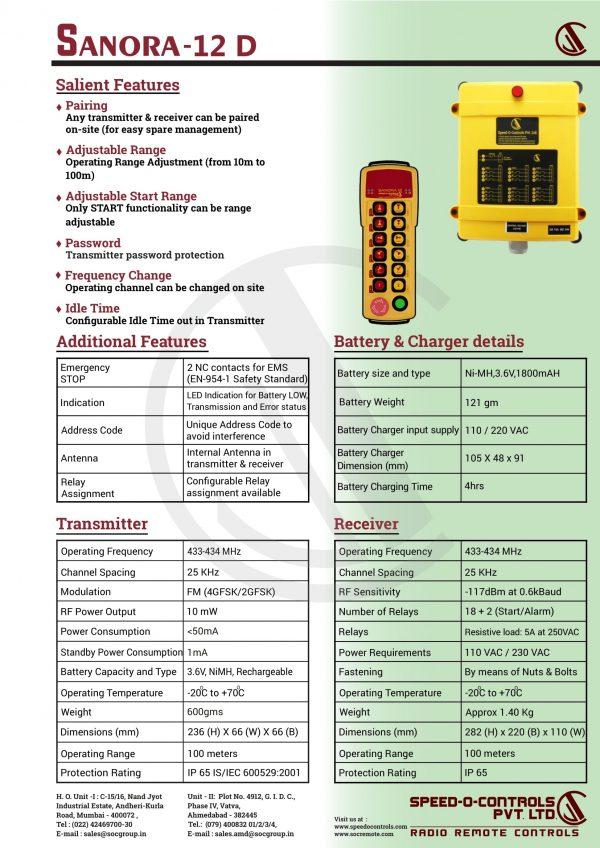 Sanora 12D Radio remote Control System Catalogue